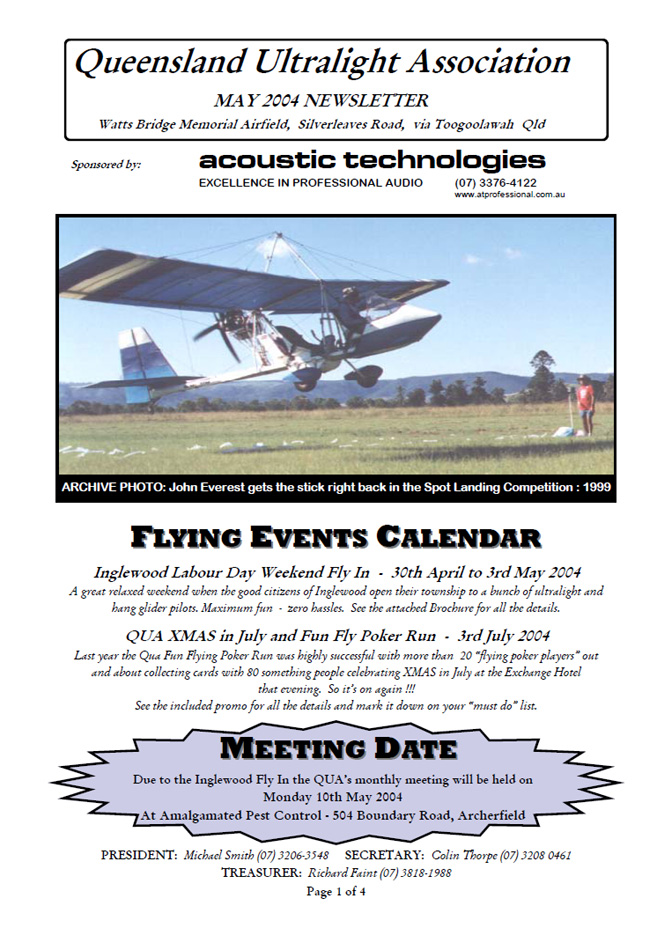 View the QUA Newsletter - May 2004