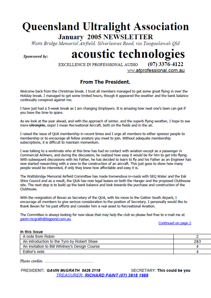 View the QUA Newsletter - January 2005