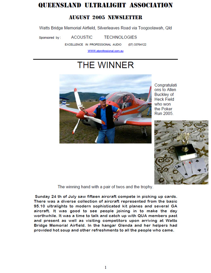 View the QUA Newsletter - August 2005