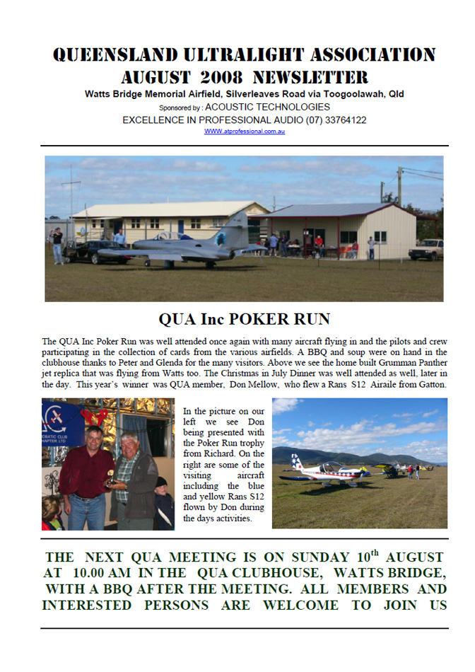 View the QUA Newsletter - August 2008